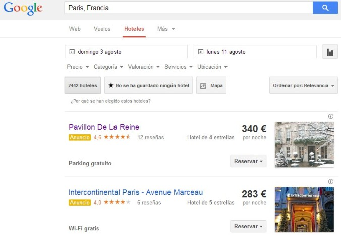 Google Hotel Finder Ejemplo